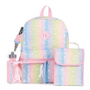 Handbags - School 5 piece backpack lunch bag set rainbow pink